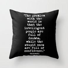 Charles Bukowski Typewriter White Font Quote Confidence Throw Pillow