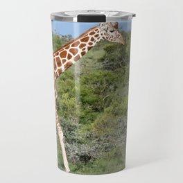 Giraffe against lush green background Travel Mug