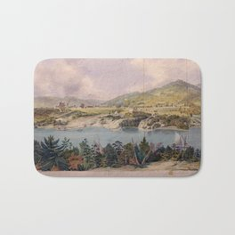 Panorama of West Point from Constitution Island by John Rubens Smith (c 1820) Bath Mat