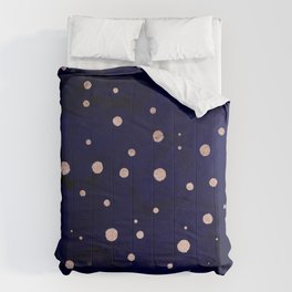 Navy blue watercolor chic rose gold modern confetti polka dots pattern Comforters
