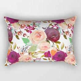 Modern fuchsia pink coral green watercolor roses Rectangular Pillow
