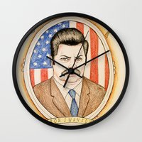 ron swanson Wall Clocks featuring Ron Swanson by Ethan Gulley