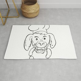 Chef Dog Biting Sausage String Cartoon Black and White Rug