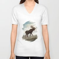 moose V-neck T-shirts featuring Moose by Alex Perkins