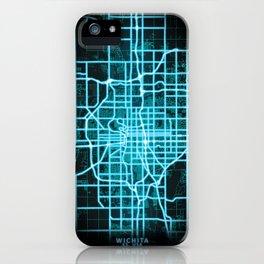 Wichita, KS, USA, Blue, White, Neon, Glow, City, Map iPhone Case