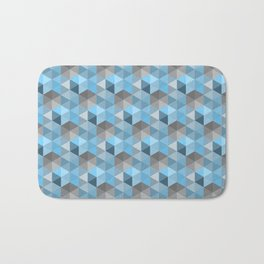 Hexagon Cube Pattern Blue Grey Bath Mat