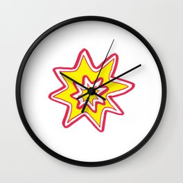POW! - yellow, red, white Wall Clock