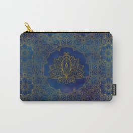 Elegant  Gold Lotus flower on blue Carry-All Pouch