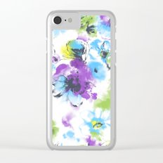 watercolor flowers pattern Clear iPhone Case