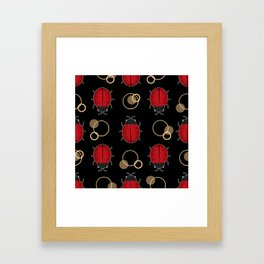 Cheerful ladybugs . Framed Art Print