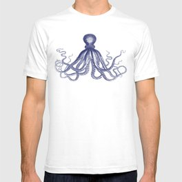 Octopus   Navy Blue and White T-shirt