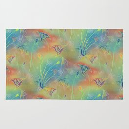Rainbow Sparkles Leaves Flowers Rug