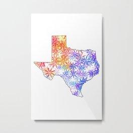 Texas Map State Vintage Flowers Print Metal Print