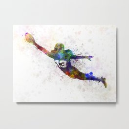 american football player scoring touchdown Metal Print
