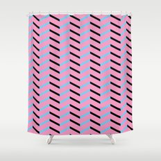 Blue and Black Chevron on Hot Pink Shower Curtain