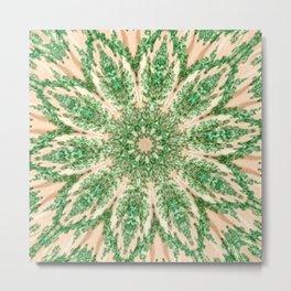 Vintage Doily Green Beige Kaleidoscope Metal Print