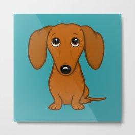 Shorthaired Dachshund Cartoon Dog Metal Print