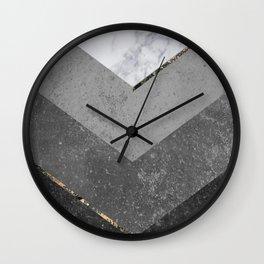 Marble Gray Copper Black Gold Chevron Wall Clock