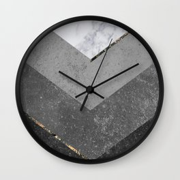 Marble Gray Copper Black Gold Chevron Wall Clock