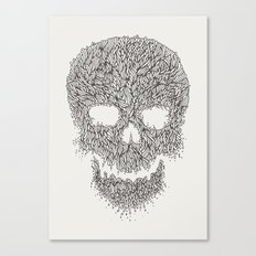Grey Skull Illustration Canvas Print
