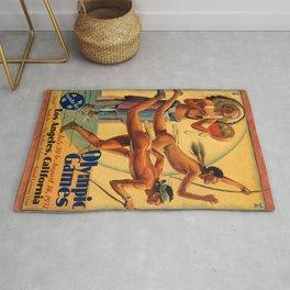 1932 Olympic Games - Los Angeles, CA - Native American - Santa Fe Railroad Vintage Poster Rug