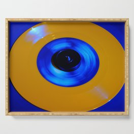 Yellow Blue Record Serving Tray