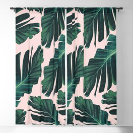 Tropical Blush Banana Leaves Dream #1 #decor #art #society6 Blackout Curtain