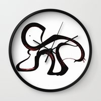 dino Wall Clocks featuring Dino by Je Nie Fleming