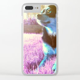 Blue dog on pink grass. Clear iPhone Case