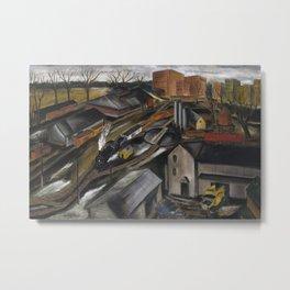1934 American Masterpiece 'Island Dock Yard' by Karl Fortess Metal Print