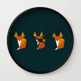 Triple tiny fox Wall Clock