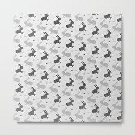Bunny pattern - Gray Metal Print