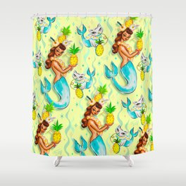 Tropical Pineapple Mermaid with Merkitties Shower Curtain