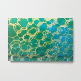 Soap suds extreme closeup creating honeycomb pattern on blurred background Metal Print
