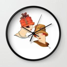 Vintage Flapper Fashion Hats Wall Clock