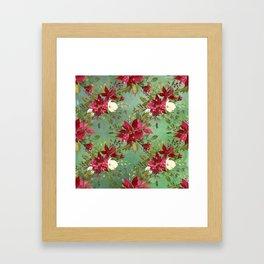 Burgundy red forest green white watercolor Christmas flowers Framed Art Print