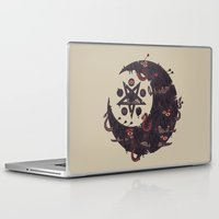 pentagram Laptop & iPad Skins featuring The Dark Moon Compels You to Fuck Shit Up by Hector Mansilla