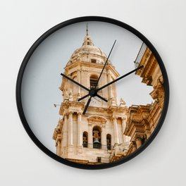 Malaga old town Church | Pastel colored wall in Portugal | Modern wall art pastel poster spain Art Print Wall Clock