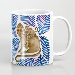 Monkey Cuddles – Navy Leaves Coffee Mug
