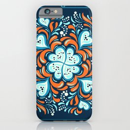 Abstract seamless pattern with frame. Khokhloma. iPhone Case