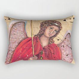 Archangel Gabriel Fresco With A Crackled Finish for #Society6 Rectangular Pillow