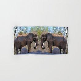 An African Elephant Dust Bath - Wildlife Art Hand & Bath Towel