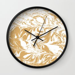 Suminagashi japanese spilled ink watercolor swirl marble pattern ocean gold and white minimalist art Wall Clock