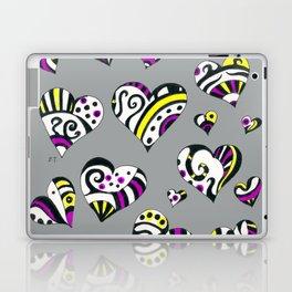 Hearts Scribble Pattern Grey Laptop & iPad Skin