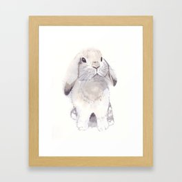 Gray and brown little cute bunny rabbit Framed Art Print