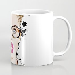 WOW Face Surprised Woman with Black Glasses and Open Mouth,  Pop-Art  Coffee Mug