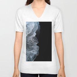 Waves on a black sand beach in iceland - minimalist Landscape Photography Unisex V-Neck