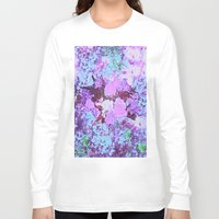 shabby chic Long Sleeve T-shirts featuring Roses Bountiful Shabby Chic in Purple and Blue Mosaic  by Saundra Myles