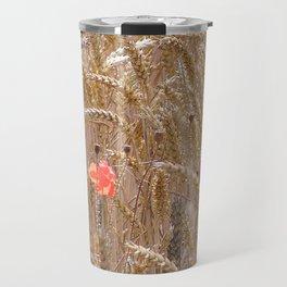 Poppy in a wheatfield Travel Mug