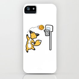 Basketball Playing Happy Fox iPhone Case